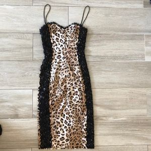 Silk leopard and lace cocktail dress